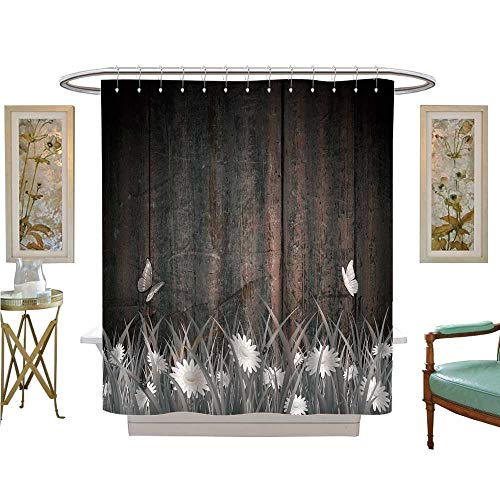 luvoluxhome Shower Curtains with Shower Hooks Antique Old Planks American Style Western Rustic Wooden and White Daisies, Grass and Butterflies Fabric Bathroom Set with Hooks W54 x L78