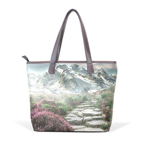 COOSUN Bolso asa grande bolsa de asas para mujer de cuero de la PU del paisaje de la montaña M (40x29x9) cm muticolour