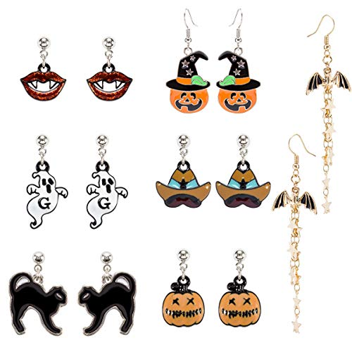 MADHOLLY 7 Pairs Halloween Theme Drop Earring Pumpkin Ghost Cat Wizard Hat Bat Dangle Earring Set for Girls and Women -
