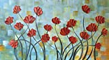 ULIANUAN Art Abstract Flower Painting 24x48Inch(60x120cm) 3D Hand-Painted Living Room Decoration