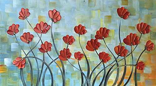 ULIANUAN Art Abstract Flower Painting 24x48Inch(60x120cm) 3D Hand-Painted Living Room Decoration by ULIANUAN