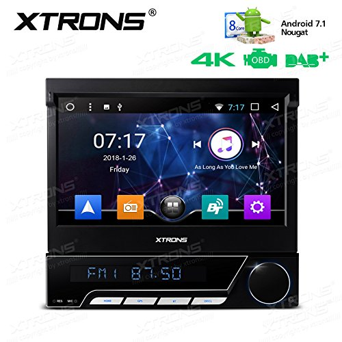 XTRONS Single 1 DIN Android 7.1 Octa Core 7 Inch Car Stereo Radio In Dash DVD Player GPS Navigation Motorized Detachable Multi-Touch Screen Wifi OBD2 32G ROM