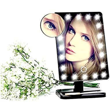 SUNKO Makeup Mirror with 20 LED Light Bulbs and 10X Magnifying Small Mirror