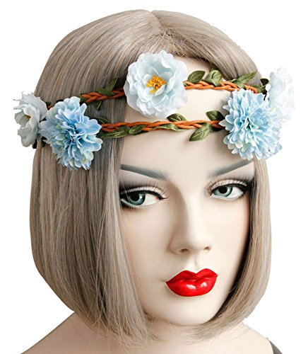 Sumolux Blossom Flower Crown with Elastic Headband for Wedding Festival Prom (Blossom Crown)