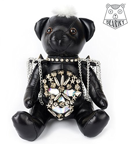 Beariky Boutique Leather Teddybears Luxury Charms for Women Bags, Purses, Totes and Backpacks Pom Pom like Keychain Pendant Doll with Gold Ring Handmade Fashion Accessory (Small, Black Skull Rockstar) (Teddy Supreme)