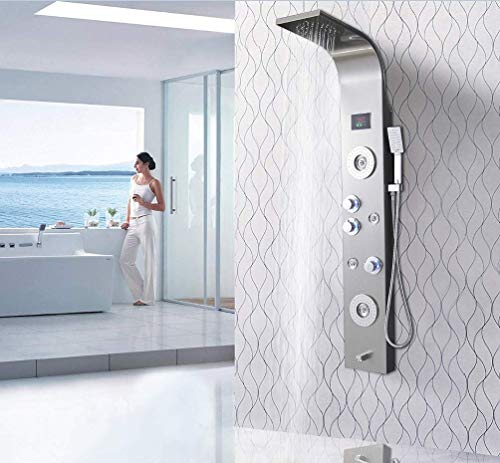 Cost Price for XZST Luxury Shower Panel Shower System Wall Mount Bathroom Multi-Function Waterfall Shower With Adjustable Massage Sprayer, Brushed Shower Column-59 Inch