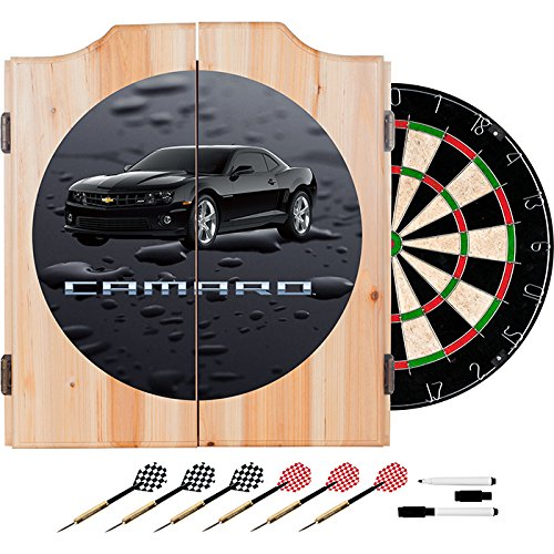Chevy Camaro Black Car Design Deluxe Wood Cabinet Complete Dart Set by TMG