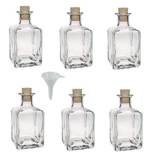 Viva Haushaltswaren - Juego de botellas de cristal pequeñas (con tapón de corcho 6 unidades
