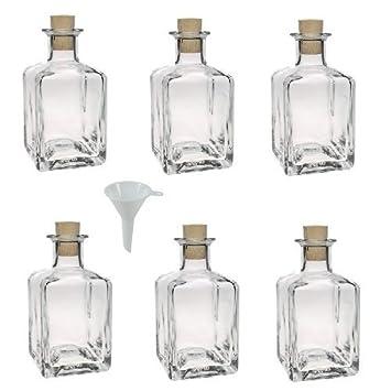 Viva Haushaltswaren - Juego de botellas de cristal pequeñas (con tapón de corcho 6 unidades 200 ml rellenables incluye embudo de 7 cm de diámetro): ...