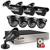 ZOSI 8CH FULL 1080p Outdoor Security Camera System, 8Channel 1080P HD-TVI 4-IN-1 DVR Recorder 2TB Hard Drive,8 Weatherproof 1920TVL 2.0MP HD Bullet and Dome CCTV Cameras,120ft night vision