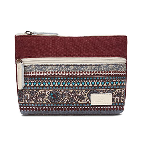 (Zipper Coin Purse Pouch PParth Canvas Flower Print Wallet with Cellphone Pocket (Burgundy))