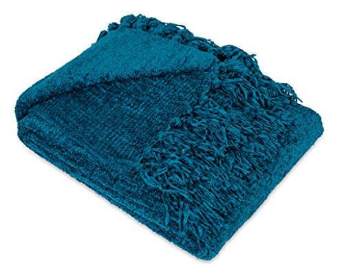 Internet's Best Thick Chenille Throw Blankets | Ultra Soft Sofa Couch Blanket with Fringe | Light Weight Sofa Throw | 100% Microfiber Polyester | Easy Travel | Bed (Teal) ()