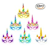 Rainbow Unicorn Paper Masks Kids Birthday Unicorn Party Favors 12 PCS