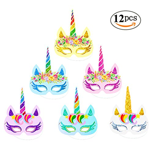 Rainbow Unicorn Paper Masks Kids Birthday Unicorn Party Favors 12 PCS