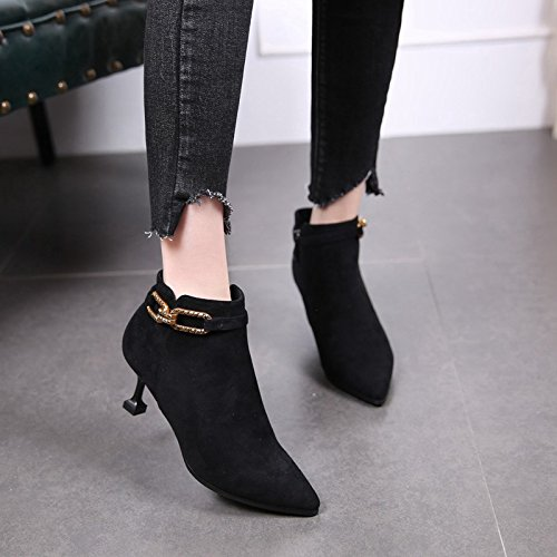 Cat Boots Boots Buckle And Metal Heel Sharp Martin Small Winter Heel High Heel Shoes With MDRW Black Short Sharp And Women New 6Cm Heels Autumn High Olici Boots Bare 48EqXA