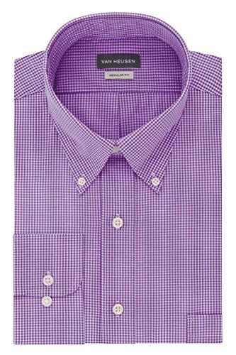 Van Heusen Men's Regular Fit Gingham Button Down Collar Dress Shirt, Amethyst, XX-Large (Xxl Shirt Dress)
