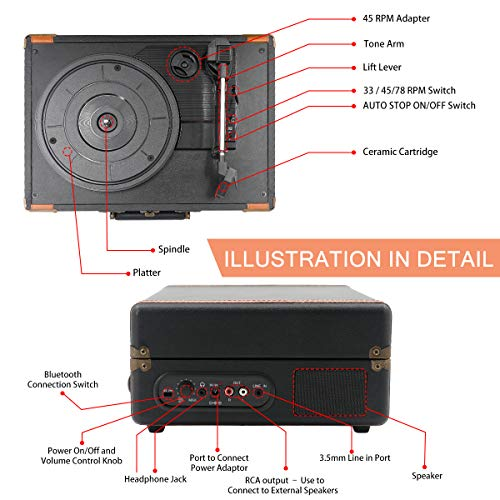 Portable Bluetooth Turntable with Stereo Speakers,3 Speed Vinyl Record Player Supporting Wireless Connection Retro Black
