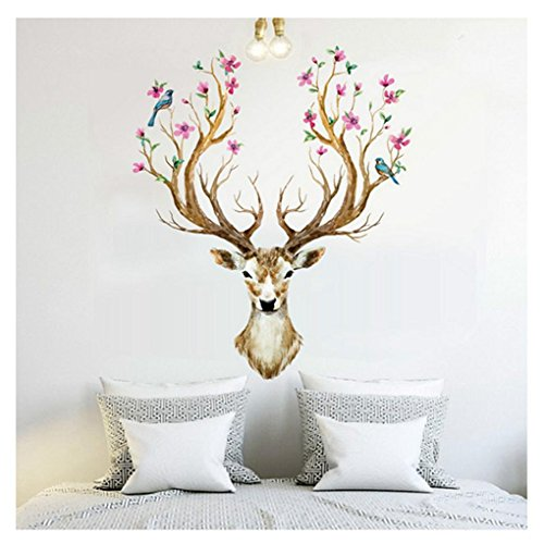 Hatop 3D Plum flower deer Wall Stickers DIY Decoration PVC Removable Waterproof (Deer Decorations)