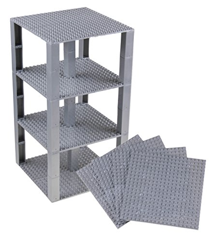 Strictly Briks Classic Baseplates 6 x 6 Brik Tower 100% Compatible with All Major Brands   Building Bricks for Towers and More   4 Silver Stackable Base Plates & 30 Stackers