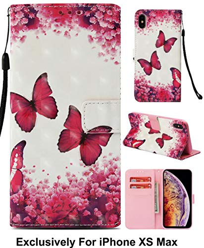 - Pelotek: {Butterfly Series} iPhone Xs Max Case, iPhone Xs Max Pink Wallet Case- Cherry Blossom Butterfly Colorful Flower Pattern Stylish Flip Design- Premium PU Leather Cute Wallet Case {C Butterfly