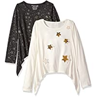 Freestyle Revolution Girls' Big 2pk Glitter Star Charcoal/White Top