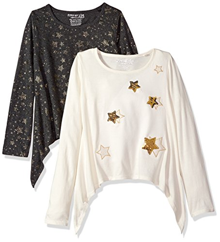 Freestyle Revolution Big Girls' 2pk Glitter Star Charcoal/White Top, Glitter Stars Multi, 8 (Girls Glitter T-shirt)