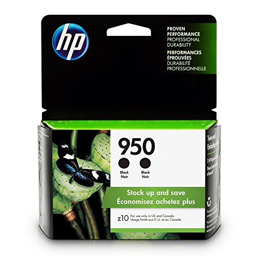 (HP L0S28AN  950 Black Ink Cartridge, 2 Ink Cartridges (CN049AN) for  Officejet Pro 251, 276, 8100, 8600, 8610, 8620, 8625, 8630…)