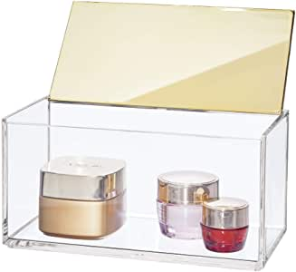 mDesign Caja de maquillaje grande con tapa – Organizador de ...