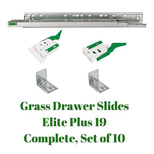 Grass Drawer Slides Elite Plus 19 Complete Set, Full Extension, Undermount, 75 lbs (for face Frame or Frameless Application) Pack of 10, 21 ()