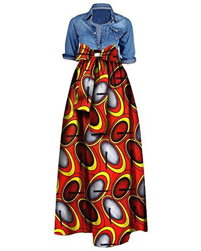 Bigyonger Womens African Floral Maxi Skirt Plus Size High Waist A Line Long Skirts