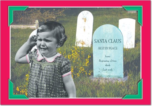12 'Santa Grave' Boxed Christmas Cards with Envelopes 4.63 x 6.75 inch, Funny Santa Claus Gravestone Holiday Notes, Dark Humor Christmas Cards, Adult Humor, Hilarious Dead Santa Cards B1312