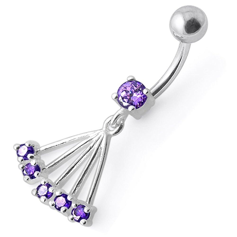 Silver Belly Rings Purple CZ Crystal Gemstone Stylish Hand Fan Shape Dangling 925 Sterling Body Jewelry