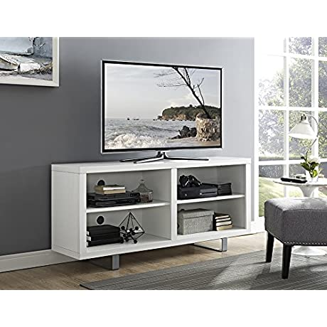 New 58 Inch Wide Simple Modern Television Stand With Metal Legs In White Finish