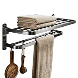 BESy Premium SUS 304 Stainless Steel Towel Racks for Bathroom, Foldable Bathroom Shelf with Towel Bar Rod Hooks, Multifunction Double Towel Bars Hotel Style, Screw Wall Mount, Brushed Nickel, 22 Inch