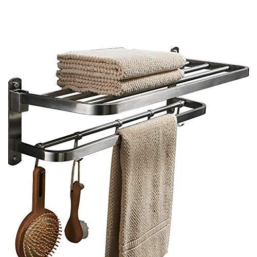 (BESy Premium SUS 304 Stainless Steel Towel Racks for Bathroom, Foldable Bathroom Shelf with Towel Bar Rod Hooks, Multifunction Double Towel Bars Hotel Style, Screw Wall Mount, Brushed Nickel, 22 Inch)
