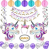 Unicorn Party Supplies, Meland 45 Pack Birthday Decorations Party Favors for Girls with 1 Happy Birthday Banner, 1 Glitter Unicorn Headband, 2 Huge Unicorn Helium Balloons, 12 Latex Balloons, 6 Hanging Swirl Decorations, 7 Tissue Paper Honeycomb Balls