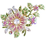 Wedding Hair Accessories-Sindary Jewelry Sindary Wedding Jewelry 4.72'' Pretty Bridal Orchid Flower Hair Comb Rhinestone Crystal HZ4712 (Gold-Tone Pink)