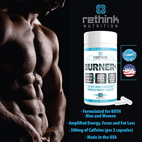 Rethink Nutrition Burner+ - Fat Burner, Clean Energy, Tunnel Vision Focus, Caffeine, Alpha-GPC, Green Tea Extract, Huperzine A, for Men and Women, Weight Loss Supplement, 60 Caps 6
