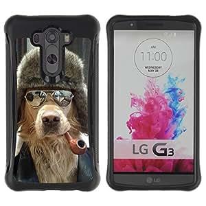 ZAKO Cases / LG G3 / Dog With Pipe / Robusto Prueba de choques Caso Billetera cubierta Shell Armor Funda Case Cover Slim Armor