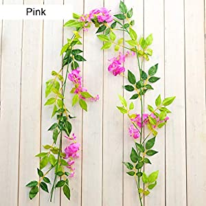 MEIBY Artificial Flowers Vine,Silk Flower Garland Hanging Fake Home Flower Party Silk Cloth Decorative Outdoor Artificial Wisteria Plant Vine Flowers Plants Wall Wedding Party Decor 3