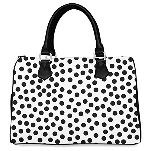 Artsadd Custom Black Polka Dot Design Barrel Type Handbag