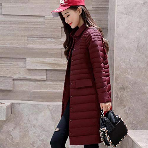 Piumino Fashion Donne Prodotto Piumini Casuale Eleganti Plus Bavero Packable Lunga Rot Calda Colori Donna Ultralight Solidi Battercake Invernale Winterjack Manica Parka FU0wzZ0q