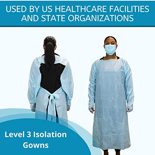 Disposable Isolation Gowns – Pack of 10 – Universal Size – Thumb Loops and Back Tie – Lightweight and Latex Free – By Cleanis 51C4oIVAdVL