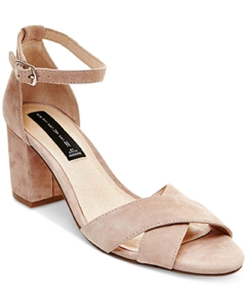 STEVEN by Steve Madden Voomme Ankle-Strap Block Heel Pink Suede Size 11M