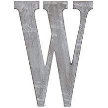 """The Lucky Clover Trading  """"W"""" Wood Block Letter, 14"""" L, Charcoal Grey"""