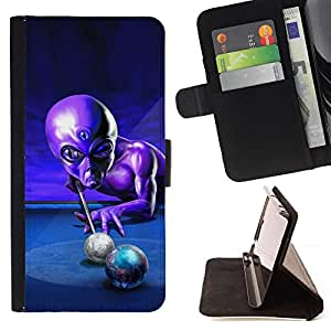 DEVIL CASE - FOR Sony Xperia M2 - Ufo Pool Billiard Alien Grey Universe Control - Style PU Leather Case Wallet Flip Stand Flap Closure Cover