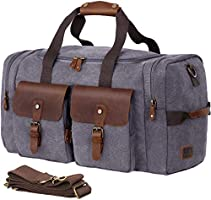 WOWBOX Duffel Bag Travel Weekender Bag for Men Womens Genuine Leather Canvas Overnight Bags Luggage Bag Mens Flight Carry...