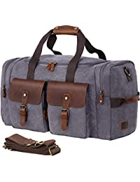 Duffel Bag Weekender Bag for Men and Women Genuine Leather Canvas Travel Overnight Carry on Bag with Shoes Compartment Grey