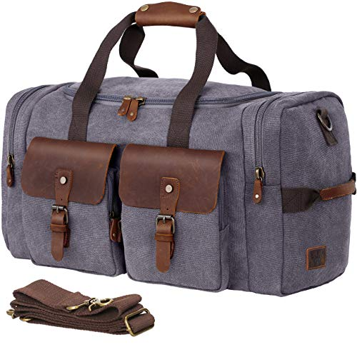 WOWBOX Duffel Bag Weekender Bag for Men and Women Genuine Leather Canvas Travel Overnight Carry on Bag with Shoes Compartment Grey (Men Weekend Bags For Leather)