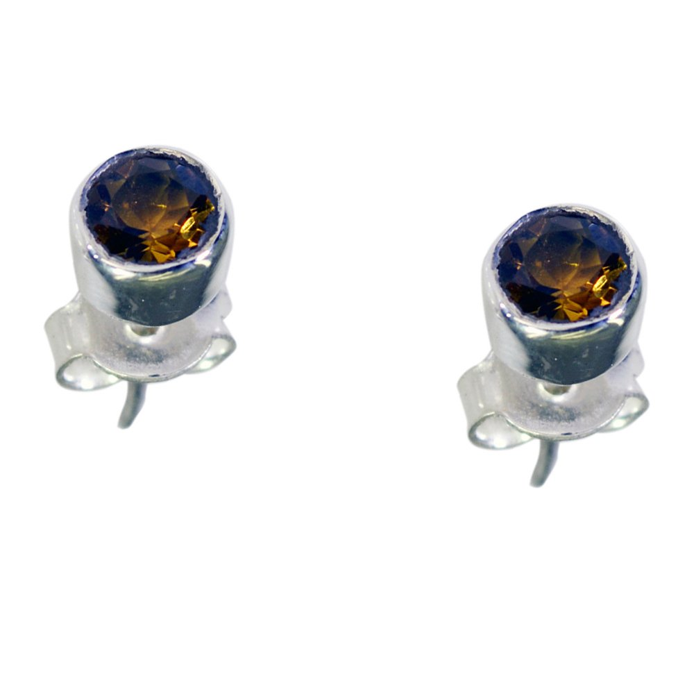 Gemsonclick Natural Citrine Stud Earrings For Women Sterling Silver Birthstone Fashion Jewelry Push Back
